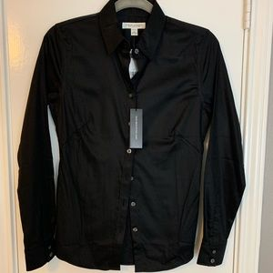 NWT BR fitted black button up